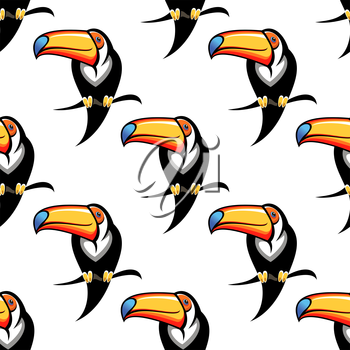 Colorful funny toucan bird seamless pattern for travel or wildlife design