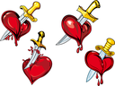 Bleeding hearts with daggers in cartoon style for tattoo and broken heart concept design