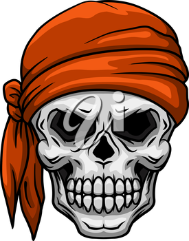 Spooky cartoon skull in orange bandana or kerchief for tattoo, comics or halloween party design