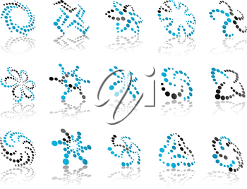 Abstract icons composed of blue and black dots showing flowers, stars and swirls with reflection on white background for business card or logo design