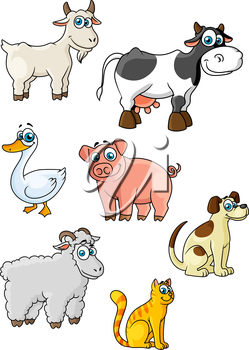 Funny cartoon farm animals and bird characters depicting cow, sheep, pig, dog, cat, goat, goose suited for childish decor or education concept design