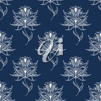 Seamless floral pattern based on white paisley persian ornament on blue background for textile or interior design