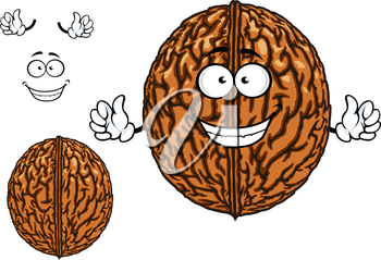 Smiling happy whole fresh walnut character in its shell with waving arms with a second plain variant with no face and separate elements