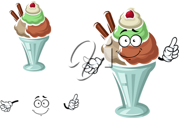 Cartoon sundae ice cream character with chocolate, vanilla, caramel and mint flavored scoops, topped by cherry fruit and waffle rolls. For dessert menu