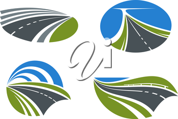 Modern paved roads and speed highways passing among scenic nature landscapes with green fields, lake and bright blue sky above. Isolated transportation symbols for travel design