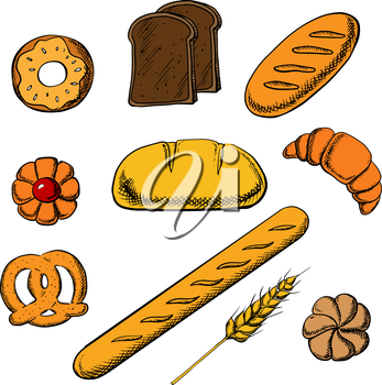 Fresh bakery icons with round loaf of rye bread encircled by long loaf, toasts, french baguette, salty pretzel and sweet cookie, donut, croissant and bun. Vector illustration