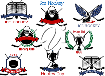 Ice hockey cup or sporting club emblems with hockey pucks, sticks, goalie masks, trophy, winged skate and gates, supplemented by heraldic shield, wreaths and ribbon banners