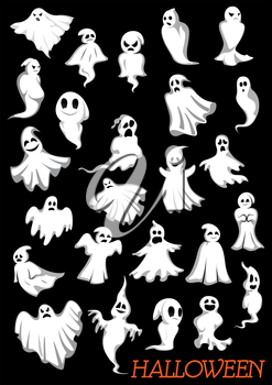 Big set of Halloween flying ghosts on dark background for holiday party theme design