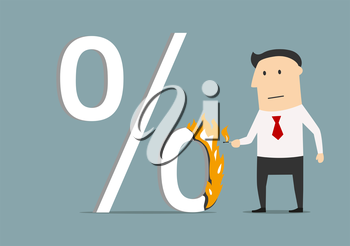 Cartoon businessman burning up percent symbol with match, for finance, banking or shopping design. Flat style