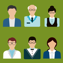 Teacher profession avatars flat icons with men, senior and women in glasses. Education or school theme design
