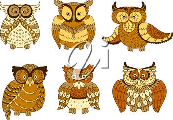 Cartoon forest owl birds with brown and yellow spotted plumage and big eyes. Cute mascot for Halloween, education emblem or t-shirt print design