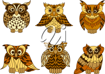 Yellow cartoon horned owls birds with decorative mottled brown plumage ornament on chests and wings. Retro stylized bird characters for education mascot, tattoo or t-shirt print design usage