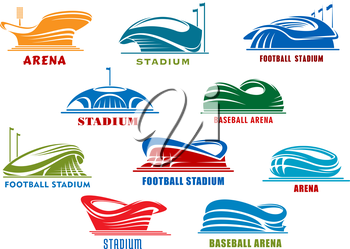 Sport stadiums icons with public buildings of football, soccer, basketball, baseball and ice hockey sporting competition. Sport arena icons or architecture design element