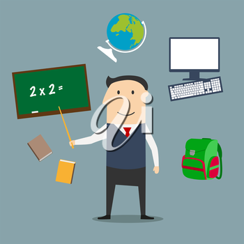 Teacher profession concept with man encircled by blackboard with chalk formula, books and pen, laboratory flasks and school bag, exercise book with geometric figures and triangle ruler