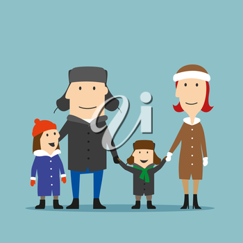 Happy smiling cartoon family in winter wear spending time together on a walk. Parents and children enjoying family time in winter holidays or weekends. Family outdoor activity, happy family time conce