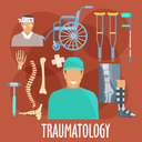Traumatology and trauma surgery flat symbol with traumatologist, injured patient, x-ray of broken bone and medical boot for cast, bones of vertebral column, wrist and foot, medical hammer, crutches an