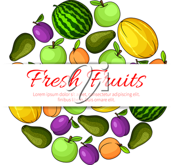 Fresh fruits banner. Fruit icons emblem made of ripe garden and exotic fruits pattern watermelon, apple, apricot, avocado, melon. Decoration design element for grocery store, book cover, menu
