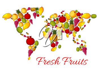 Fruits combined in world map shape with continents of ripe fruit harvest. Vector fresh apple, apricot and peach, tropical sweet mango and exotic kiwi with pineapple, red grape and juicy pomegranate