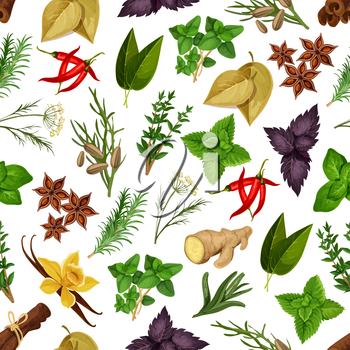 Spicy herbs and herbal spices vector seamless pattern of seasonings cinnamon, dill, anise and oregano, ginger and vanilla with mint, cumin and chili pepper, tarragon, red and green basil, sage and bay