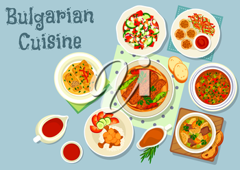 Bulgarian cuisine savory dishes icon of grilled meat with pepper on flatbread, vegetable balls with tomato sauce, vegetable salad with cheese, beef vegetable and lentil soups, pork stew, cabbage roll