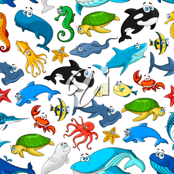 Cartoon pattern of seamless vector fishes and sea or ocean animals starfish or shell mollusk and seahorse, smiling stingray and turtle, lobster crab and octopus, squid and jellyfish, dolphin, whale an