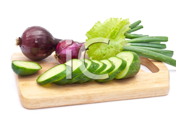 Royalty Free Photo of Cucumber Slices With Red Onions