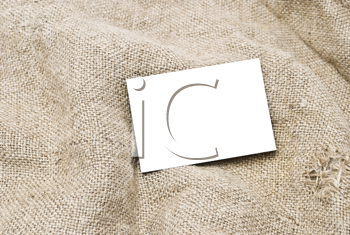 Royalty Free Photo of Sackcloth and a Cardboard Tag