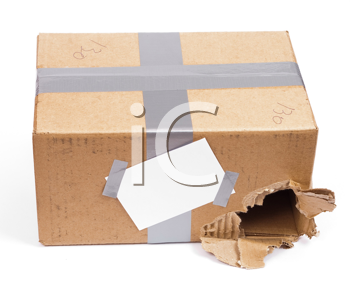 Royalty Free Photo of a Shipping Torn Box With Tag