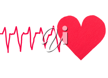 Royalty Free Photo of a Red Heart With Ekg Patterned Lines