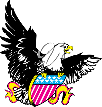 Royalty Free Clipart Image of an Eagle With a Shield