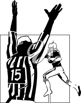 Royalty Free Clipart Image of a Football Referee Calling a Touchdown