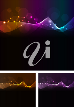 Royalty Free Clipart Image of Colourful Waves on Black