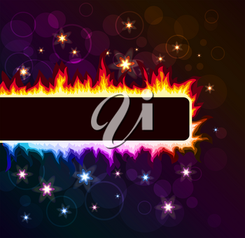 Royalty Free Clipart Image of a Flaming Band on a Star Background