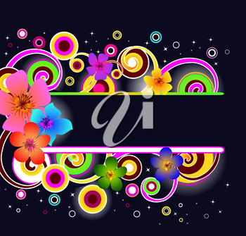 Royalty Free Clipart Image of a Flower Frame on Black