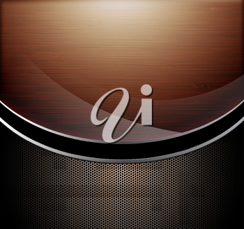 Wooden polished background combine with metallic perforated background