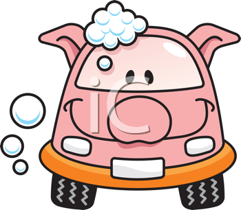Royalty Free Clipart Image of a Pig Car Getting a Wash