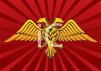 Royalty Free Clipart Image of a Double-Headed Bird on a Red Background
