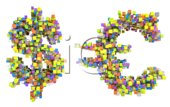 Royalty Free Clipart Image of Cubed Dollar and Euro Signs