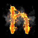 Royalty Free Clipart Image of a Burning Letter H