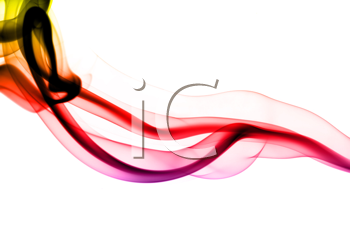 Colorful fume abstract pattern over the white background