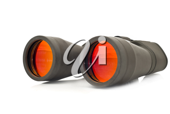 Close-up of binoculars (pair of glasses) over white background