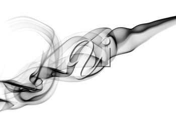 Abstract black puff of smoke over white background