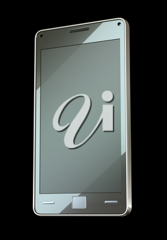 Front side view of smart phone with touch screen (custom created and rendered)