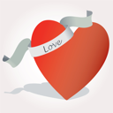 Royalty Free Clipart Image of a Heart With a Scroll