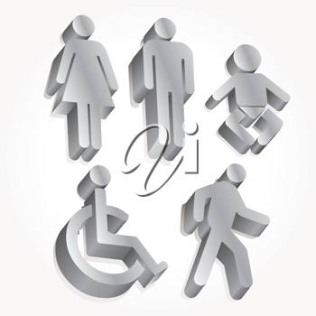 Royalty Free Clipart Image of People Symbols