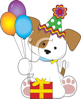 Royalty Free Clipart Image of a Puppy With Balloons