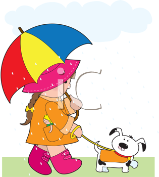 Royalty Free Clipart Image of a Girl Walking Her Dog in the Rain With an Umbrella