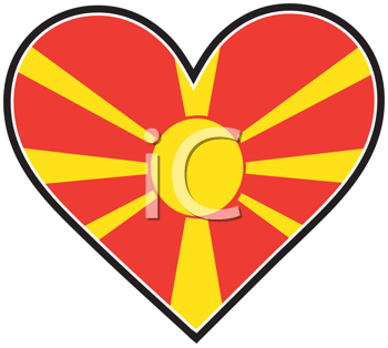 Royalty Free Clipart Image of a Macedonian Flag in a Heart