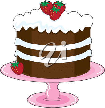 Strawberry Shortcake with whipped cream icing and fresh strawberries, is displayed on a pink cake plate with pedestal. Mmmm, yummy!