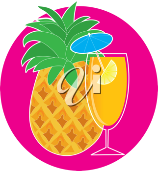 Royalty Free Clipart Image of a Pineapple and Drink